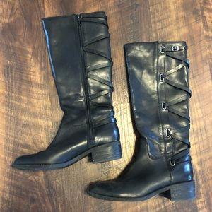 BCBG Black Leather Boots 7.5